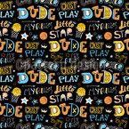 Letterings de basquete Design de padrão vetorial sem costura