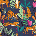 Cheetahs In The Jungle Seamless Vector Pattern Design