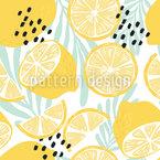 Limões de Verão E Folhas Design de padrão vetorial sem costura