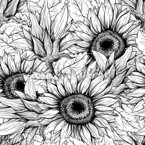 Monochrome Sunflowers Seamless Vector Pattern Design