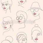 极简女性面孔 无缝矢量模式设计