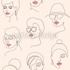 Minimalistic Women Faces Seamless Vector Pattern Design