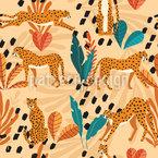 Geparden In Der Wüste Nahtloses Vektormuster