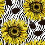 Sonnenblumen Auf Zebrastreifen Nahtloses Vektormuster