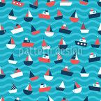 Jaunty Boats Seamless Vector Pattern Design