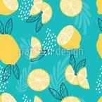 Zitronen Und Blätter Nahtloses Vektormuster