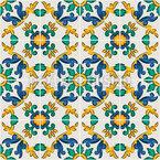 Azulejo floral siciliano Estampado Vectorial Sin Costura