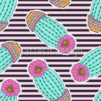 仙人掌与开花 无缝矢量模式设计