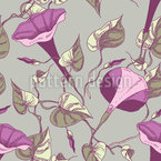 昇る花と葉 シームレスなベクトルパターン設計