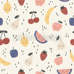 Cute Cartoon Fruits Seamless Vector Pattern Design