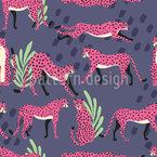 Cheetahs por noite Design de padrão vetorial sem costura