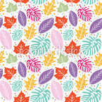Dots And Leaves Seamless Vector Pattern Design