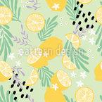 Tropische Zitronen Nahtloses Vektormuster