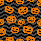 Pumkin Face Seamless Vector Pattern