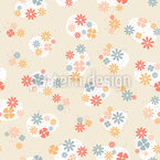 Flowers And Hearts Seamless Vector Pattern Design