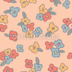 Pansies And Leaves Seamless Vector Pattern Design