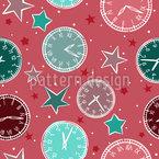 Relojes y estrellas Estampado Vectorial Sin Costura