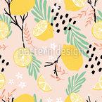 Floating Lemons Seamless Vector Pattern Design