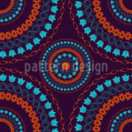 Floral Mandala Circles Seamless Vector Pattern Design