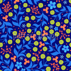 Leaves And Round Blossoms Seamless Vector Pattern Design