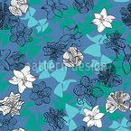 Blooming Flower Contours Seamless Vector Pattern Design