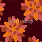 Stylized Star Flowers Seamless Vector Pattern Design