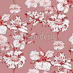 Lily Und Orchidee Nahtloses Vektormuster