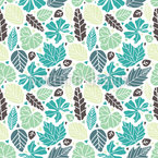 Leaves And Triangles Seamless Vector Pattern Design