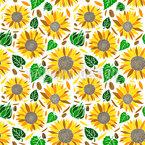 Sunflower Blossom Seamless Vector Pattern Design