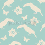 Tropical Flowers And Toucans Seamless Vector Pattern Design