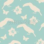 Tropische Blumen Und Tukane Muster Design