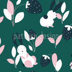 Rabbits With Strawberries And Leaves Seamless Pattern