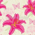 Lilien Und Schmetterlinge Nahtloses Vektormuster
