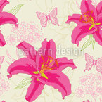 Lilies And Butterflies Seamless Vector Pattern Design