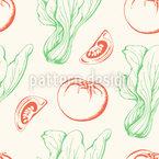 Tomaten Und Salat Nahtloses Vektormuster