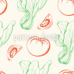 Tomatoes And Salad Seamless Vector Pattern Design