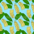 Erfrischende Bananenblätter Nahtloses Vektormuster