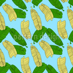 Refreshing Banana Leaves Seamless Vector Pattern Design