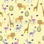 かわいいアフリカの動物 シームレスなベクトルパターン設計