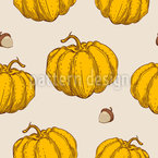 Sweet And Ripe Pumpkins Seamless Vector Pattern Design