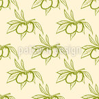 Olives And Leaves Seamless Vector Pattern Design