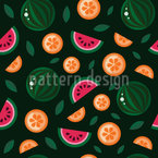 Orangen Und Wassermelonen Bei Nacht Nahtloses Vektormuster