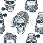Skull Drawing Seamless Vector Pattern Design