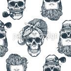 Totenkopf-Zeichnung Nahtloses Vektormuster