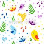 様式化された鳥パーティー シームレスなベクトルパターン設計
