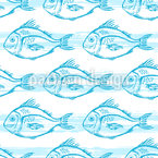 Swimming Fish Seamless Vector Pattern Design