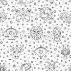 Minimalistic Zodiac Signs Seamless Vector Pattern Design