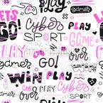 Mädchenhafte Online-Spiele Nahtloses Vektormuster