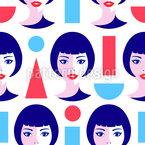 现代几何女性 无缝矢量模式设计