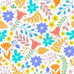 Blooming Flower Seamless Vector Pattern Design